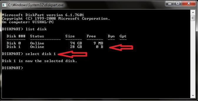 Diskpart Bootable USB Hindi